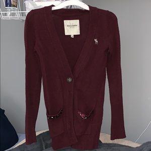 Abercrombie Burgundy Cardigan Sweater